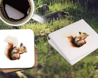 Squirrel Ceramic Coasters (set of four)