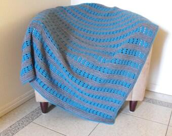 Blue and Grey Throw Rug / Throw Blanket