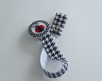 Girls ladybug pacifier clip