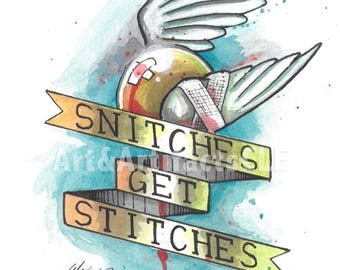 Snitches Get Stitches Harry Potter Golden Snitch Watercolor Print