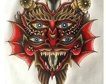 Demon Mask A3 Print