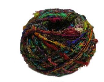 Recycled Sari Silk Yarn - Multicolor 100 Grams