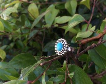 Turquoise Southwestern Ring Silver Teal Bohemian Boho Rustic Minimalist Native American