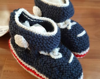 SALE! Knitted High-top Booties Navy