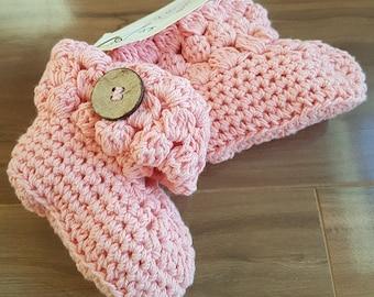 SALE! Crochet Booties Peach