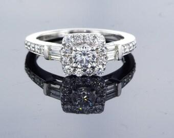 Charming Vintage Art Deco 14k White Gold Diamond Engagement Ring, Glamorous Engagement Ring. 1.09 ct. Natural Diamond Engagement Ring