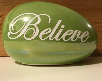 """Easter egg with vinyl """"Believe"""""""