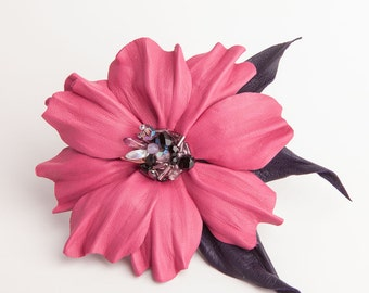 Pink flower leather brooch/hair clip