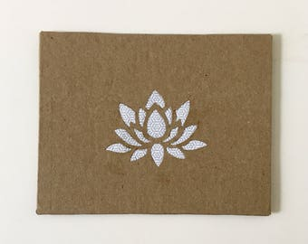 Blank Notecards Handmade Flower Cards Note Cards with envelopes Stationary Set Paper Handmade Greeting Cards recycled paper Lotus Flower