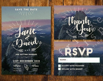Nature inspired Wedding Invitation, wedding, unique, rustic, party, invitation, download, DIY wedding, sets, mountains, outdoors, trees