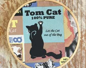 Tom Cat embroidery hoop wall hanging