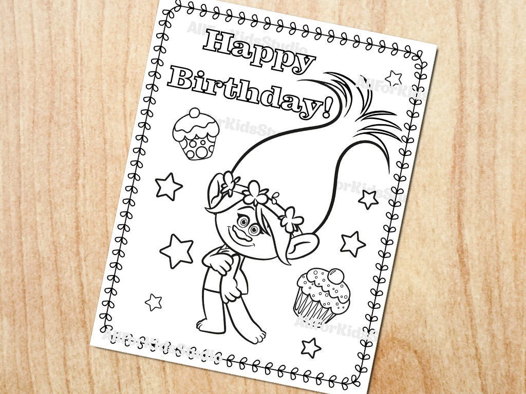 Trolls coloring page / Happy birthday coloring page