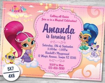 Shimmer and Shine Invitation, Shimmer and Shine Birthday, Boom Zahramay Party, Genie Invite Printables, Card Invitations, Printable Invites