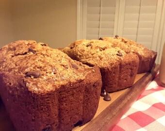 Chocolate Chip Banana Nut Bread Loafs, homemade baked goods, homemade bread