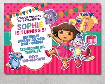 Dora the Explorer Invitation, Dora the Explorer Birthday, Dora the Explorer Party, Dora Invite, Card Printables, Digital Printable Invites