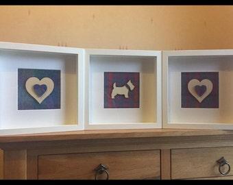 Love heart Harris tweed frame