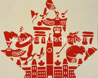 Canada Sticker - Canada Decal - Maple Leaf Sticker/Decal - Canadian Symbols Sticker/Decal - Canada 150 - Canada Day - Canadian Pride