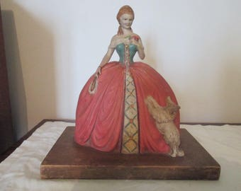 1920 U. Cipriani - Clay Statue/Sculpture of Elegant Woman and Dog  ( probably a moquette)