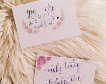 5 x encouraging quote cards || calligraphy art || note cards