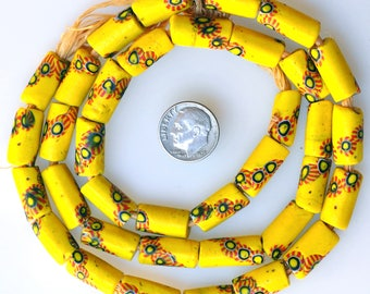 36 Matching Venetian Yellow Millefiori Beads - Vintage African Trade Beads - MF2716