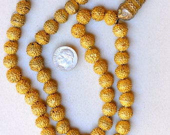 22 Inch Yoruba Necklace with Gold Wash & Large Pendant - Vintage African Trade Beads - Y359