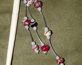 H16 Bone hair stick with lampwork beads, jewelry for the hair.