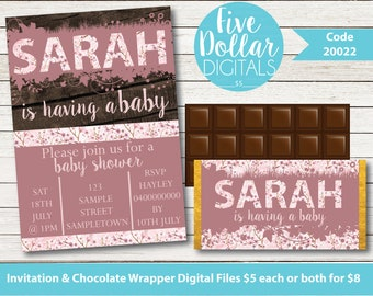 Personalised Digital Baby Shower Invitation & Chocolate Candy Bar Wrapper