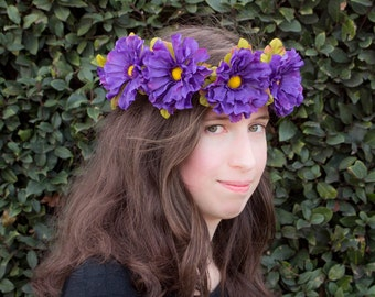Royal Purple Aster Flower Crown