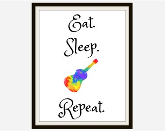 Guitar Art - Guitar Artwork, Motivational Quote, Inspirational Quote, Music Quote, Wall Art Print, Gift For Her, Gift For Him, Quote Print