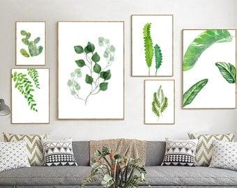 Tropical Water Color Print, Digital file, Wall Art Print 6 piece set