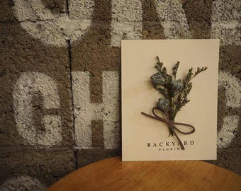 Greeting Card/Handmade Dried Flower Card with Eucalyptus and Lavender /Blank Card/ Happy Birthday Card/ Thank You / Happy Anniversary Card