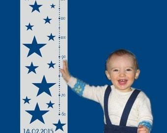 Messlatte: Sterne   Messleiste für Kinder   Skala   personalisierbar mit Name, Geburtsdatum