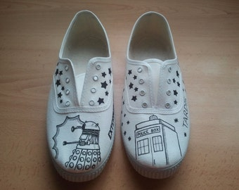 Doctor Who painted handmade slippers