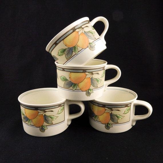 Mikasa Intaglio Garden Harvest Cups Mugs Cac29 Set 4 16068