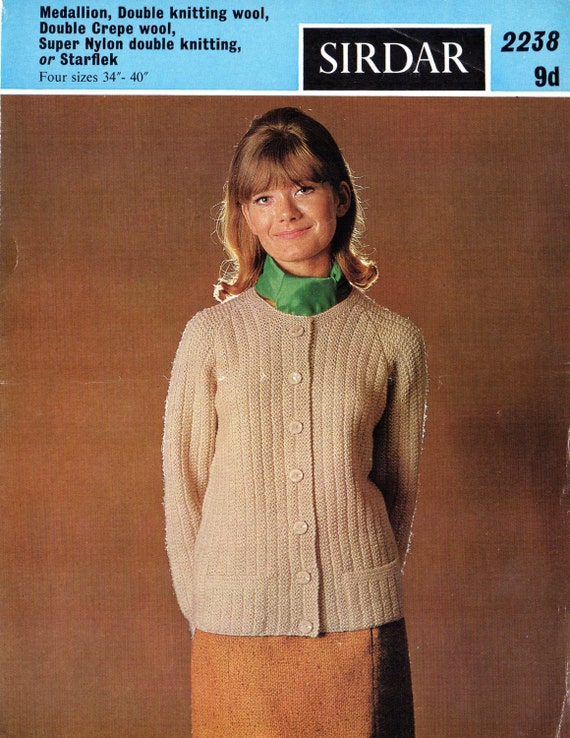 ORIGINAL 1960s Womens Cardigan Knitting Patterns, Sirdar ...