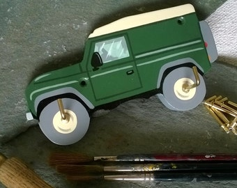 Hand painted 4x4 Key hook/holder/hanger/rack,Land Rover,man cave,garage,shed,green,organiser,off road,4x4,gift,gift for him,birthday,