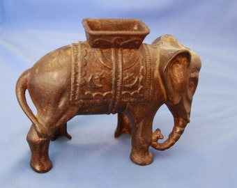 antique cast iron Elephant still bank with howdah