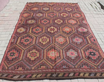 free shipping rug,9'8''x6'2''anatolian fletweave kilim,300x190 turkish old cicim kilim,vintage home art decorative kilim