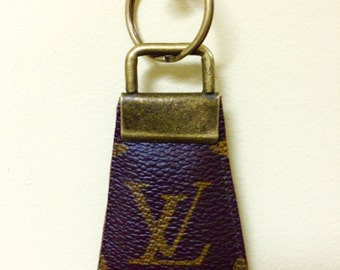 Handcrafted, re-purposed Louis Vuitton canvas key chain
