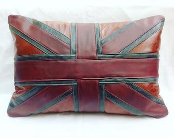 Leather Union Jack cushion