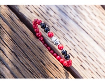Red and Silver Buddha Head Bracelet