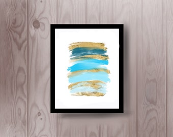 Turquoise and gold modern artwork abstract painting