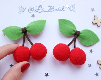 Cherry hair clips