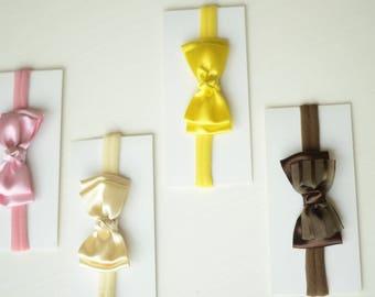 Baby headband bow, baby bow, delicate, baby girl, nylon bow, satin bow