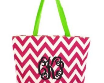 Glitter Monogrammed Chevron Hot Pink & Lime Green Tote Bag. Very Roomy!