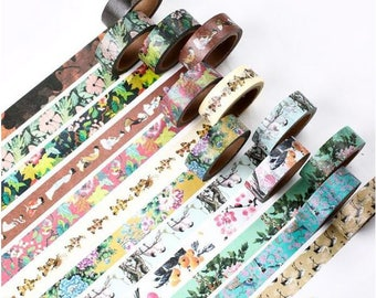 Traditional Ancient China Washi Tape ~ Chinese Flowers Geisha Emperor Kimono Birds Washi Tape, Masking Tape, Scrapbooking, DIY, Elegant Tape