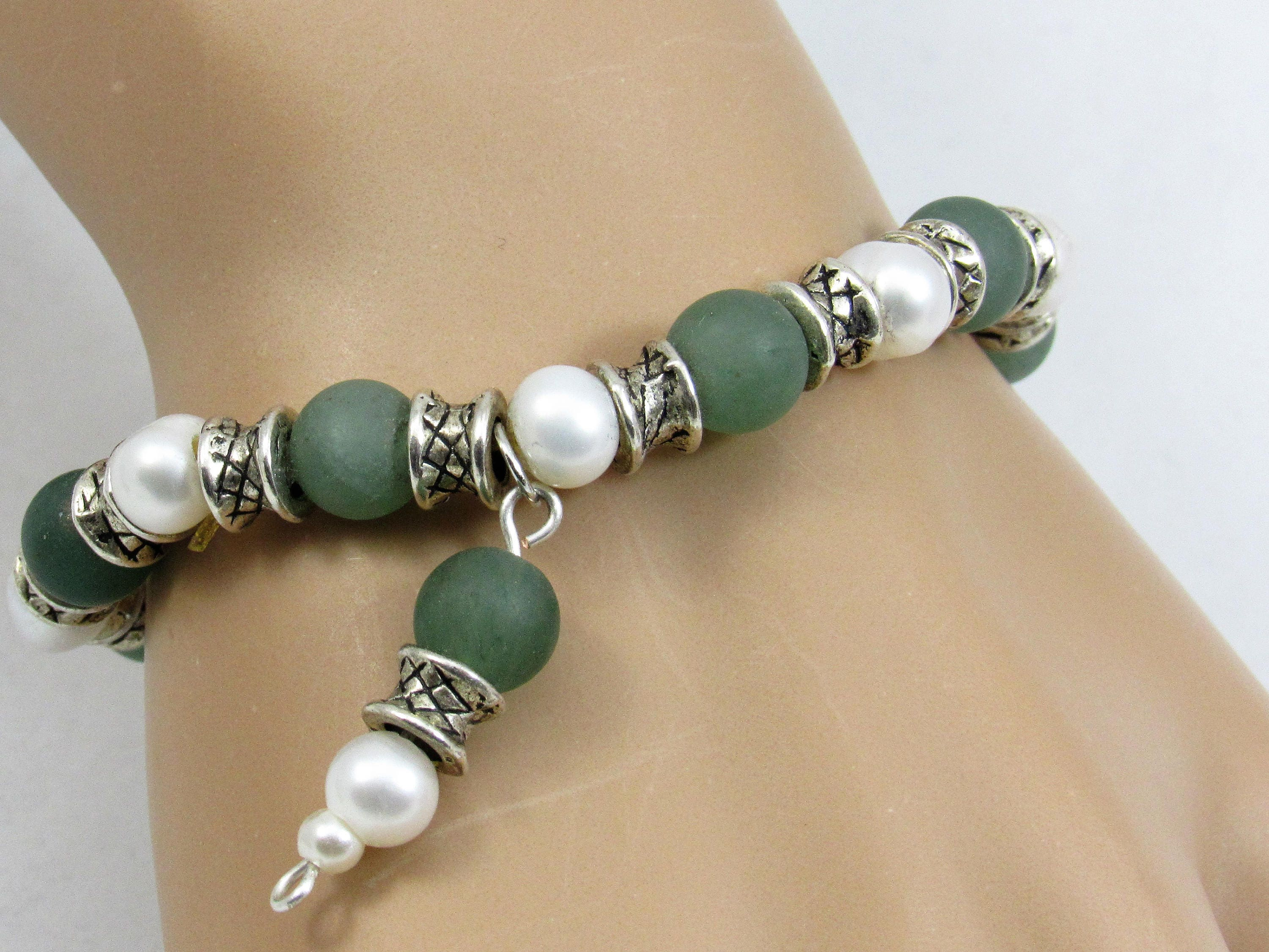 Frosted Green Aventurine & Freshwater Pearl Beaded Stretch Bracelet,  Antique Silverplated Spacers And Charm, Pearls, White And Light Green