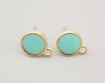 5 Pairs Gold Round Earring Stud,Green Earring Post ER004