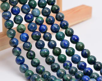 """6MM Azurite Natural Gemstone Full Strand Round Loose Beads 15"""" (101113-321)"""