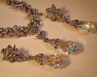 Vintage 1960's Swarovski Aurora Borealis Crystal Drop Necklace & Earring Jewellery Set Suite Lotus Flower Mothers Day